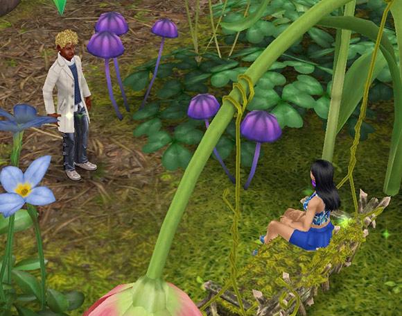 花びらのブランコに座り、男性シムを誘う女性シム(The Sims フリープレイ)