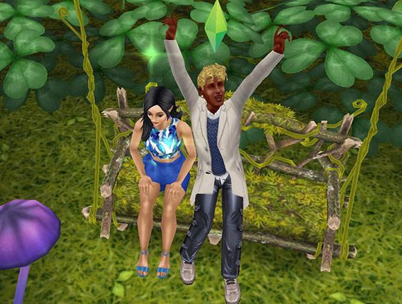 花びらのブランコで、女性シムの横でわざとらしく伸びをする男性シム(The Sims フリープレイ)