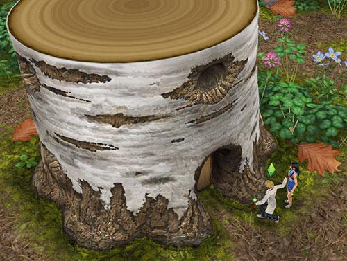 魔法の熱帯雨林にて、切り株のお家を発見する男女シム(The Sims フリープレイ)