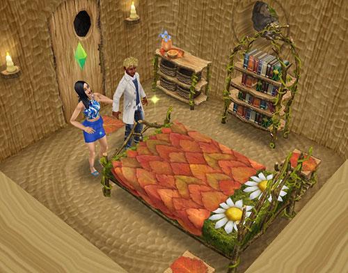 魔法の熱帯雨林にある切り株の家の中で、ガーデンベッドを発見する男女シム(The Sims フリープレイ)