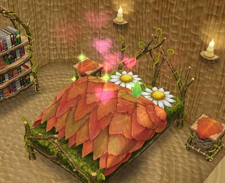 ガーデンベッドの中でウフフなことをする男女シム。熱っぽいハートがとめどなく湧き上がる(The Sims フリープレイ)