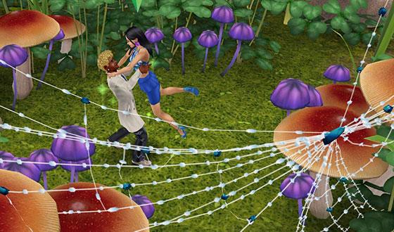 フェアリーサークルの広場でダンスし、女性シムをもちあげ、ドラマチックにくるくる回る男性シム(The Sims フリープレイ)