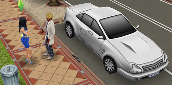 自宅にて、車の前で話をする男女シム(The Sims フリープレイ)
