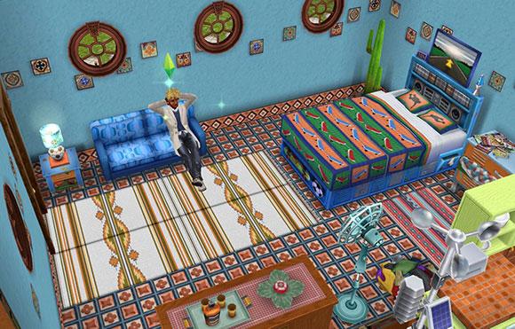 ティーン家具で飾られた部屋の中、悩ましげに座る男性シム(The Sims フリープレイ)