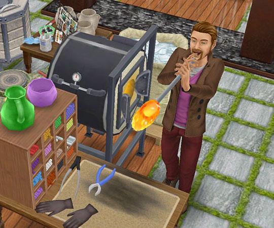 フレンチロマンスイベントのガラス製品工作セットで、吹きガラスを楽しむ男性シム(The Sims フリープレイ)