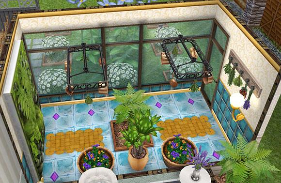 庭に面した温室のハーブ園(The Sims フリープレイ)