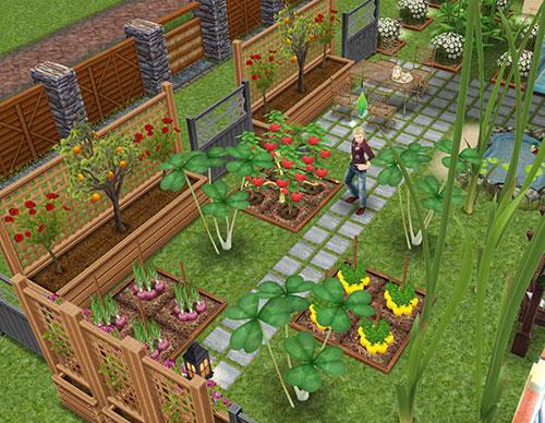 いろいろな野菜や大きな植物が元気に育っている、裏庭の畑(The Sims フリープレイ)