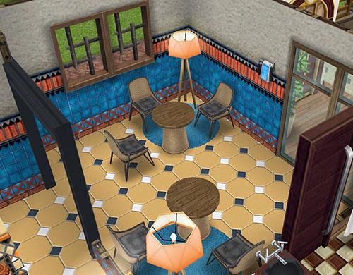 ラテン風タイルモザイクに、籐のテーブルとチェアを合わせたダイニングルーム(The Sims フリープレイ)