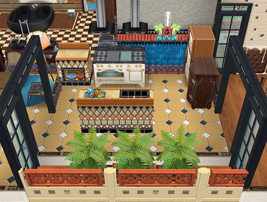ラテン風タイルモザイク壁に、フレンチ家具のオープン・デュ・シェフやラテン風ベンチトップなどを合わせたキッチン(The Sims フリープレイ)