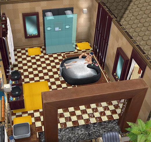 広めの共同バスルーム。ダブルスパの浴槽や、打たせ湯に見立てた恵みの雨オブジェなどがある(The Sims フリープレイ)
