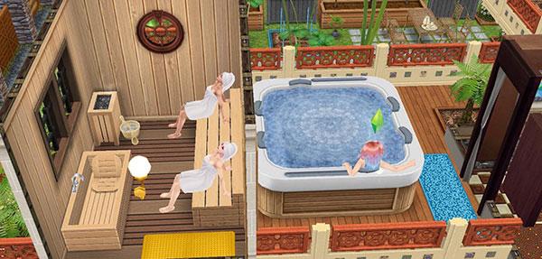 バルコニーに置かれた浴槽と、その横にあるサウナ室。のんびり疲れを癒すシムたち(The Sims フリープレイ)