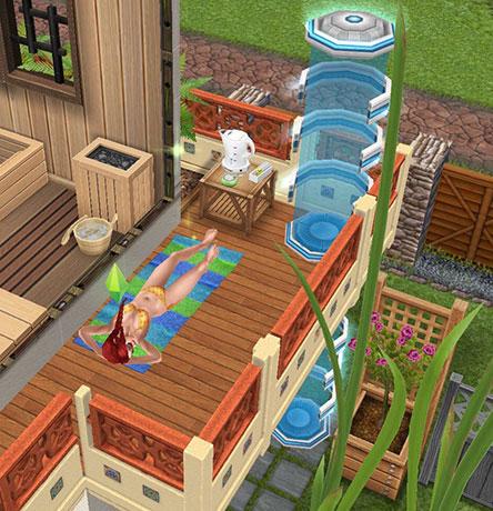 バルコニーに敷かれたプールサイドタオルに寝転がり、リラックスするシム。そのすぐそばにテレポーター(The Sims フリープレイ)