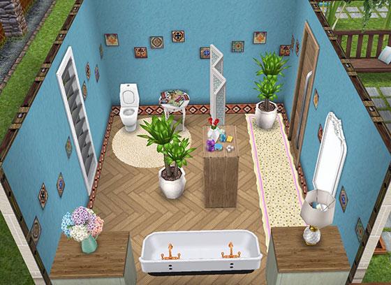 ラテンブルースタッコの壁に、フレンチスタイルの家具を合わせた、広めのバスルーム(The Sims フリープレイ)