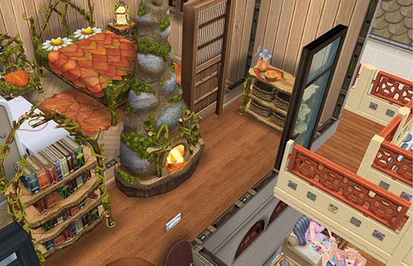 小枝の棚やツル草のチェストなど熱帯雨林スタイルの家具で飾られた廊下と寝室(The Sims フリープレイ)