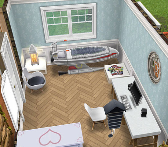 フレンチ風の紙貼りデリースの壁とビーチデリースの床に、白を基調とした家具を配置した寝室(The Sims フリープレイ)