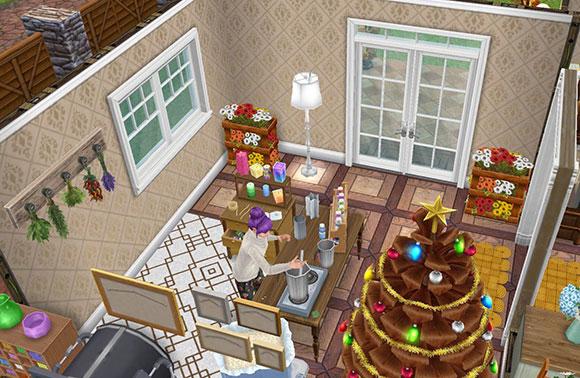 雑貨屋のレジ兼キャンドル工房。キャンドル工作セットで作業しながら客を待つシム(The Sims フリープレイ)