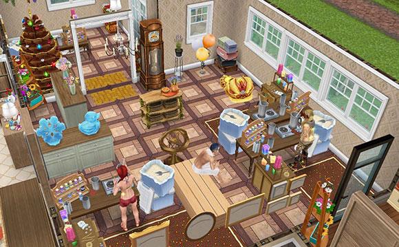雑貨屋のショップ兼キャンドル工房。キャンドル工作セットで手作りデモンストレーションをしながら客を待つシムたち(The Sims フリープレイ)