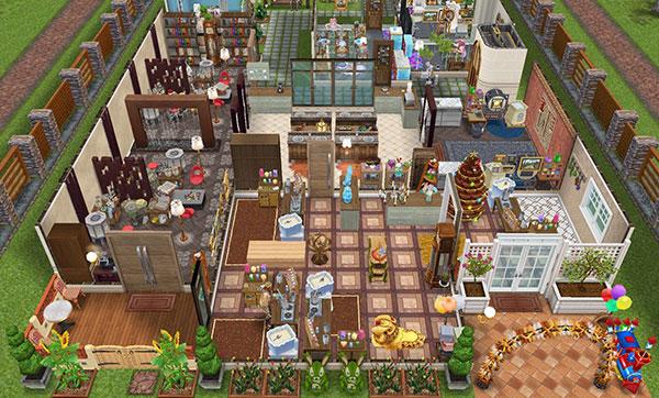 雑貨屋兼工房シェアハウス1階表側全体図(The Sims フリープレイ)