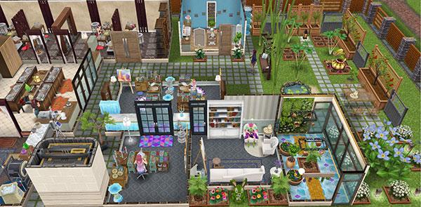 雑貨屋兼工房シェアハウス1階奥の全体図(The Sims フリープレイ)