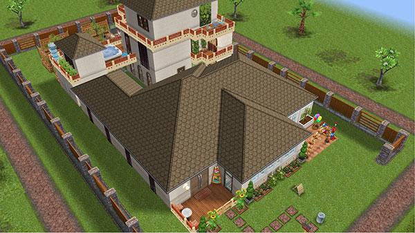 雑貨屋兼工房シェアハウス表側の外観(The Sims フリープレイ)
