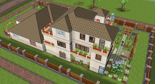 雑貨屋兼工房シェアハウス。様々なスタイルの窓が並び少し賑やかな横側外観(The Sims フリープレイ)