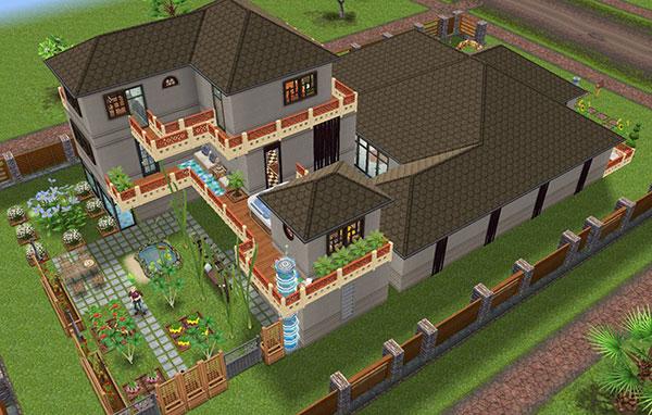 雑貨屋兼工房シェアハウス、庭が見渡せる横側外観(The Sims フリープレイ)
