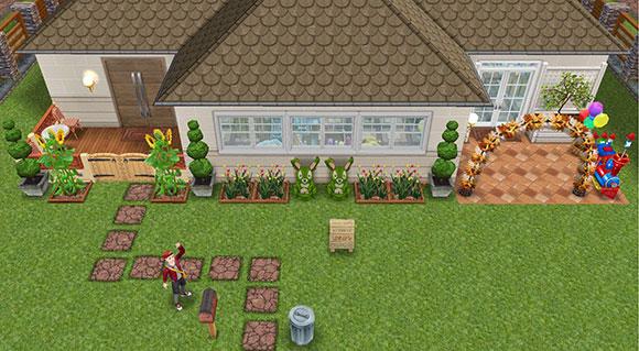 雑貨屋兼工房シェアハウス。表には、店と工房への入り口が別々にある。店前には看板も(The Sims フリープレイ)