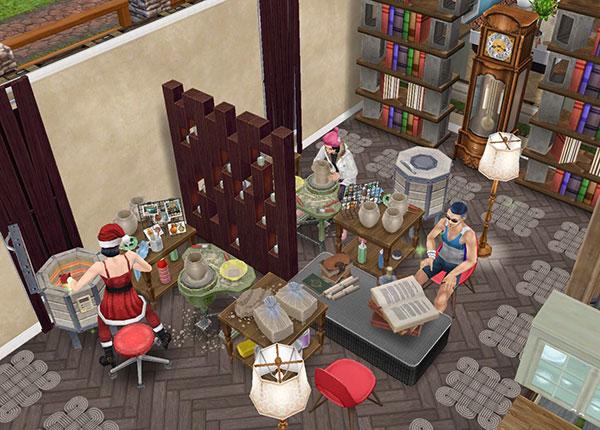 陶芸工房。陶器工作セットで作業するシムたち(The Sims フリープレイ)