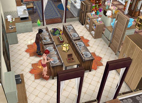 全工房で共同利用する広い手洗い場。シムたちがおしゃべりを楽しみながら水道を使う(The Sims フリープレイ)