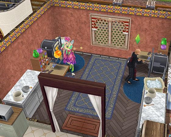 ガラス製品工房。ガラス製品工作セットで吹きガラスをするシムたち(The Sims フリープレイ)