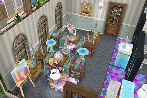 ジュエリー工房。ジュエリー工作セットでアクセサリーをつくるシムたち(The Sims フリープレイ)