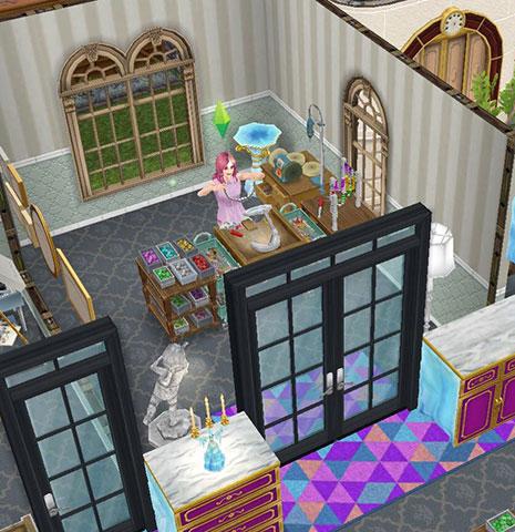 トップ・ジュエラー用の個室の工房。ジュエリー工作セットで作業し、完成したアクセサリーを満足げに眺めるシム(The Sims フリープレイ)