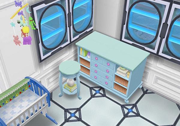 青のベビーチェスト、青の子供部屋用テーブル(The Sims フリープレイ)