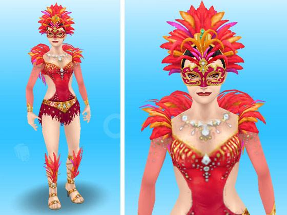 フラミンゴのカーニバルの服装に、赤いマルディグラの仮面を装着した女性シム(The Sims フリープレイ)