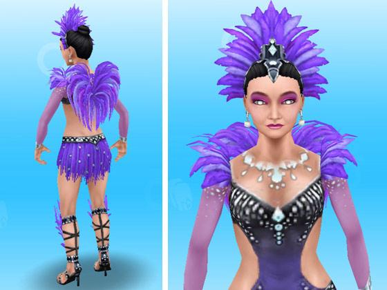 トキのカーニバルの服装をした女性シム(The Sims フリープレイ)