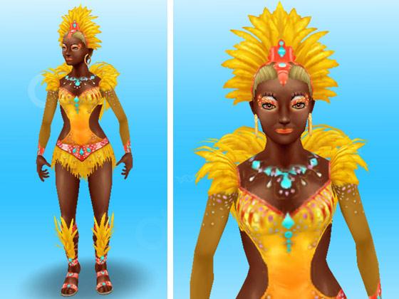 ジャガーのカーニバルの服装をした女性シム(The Sims フリープレイ)