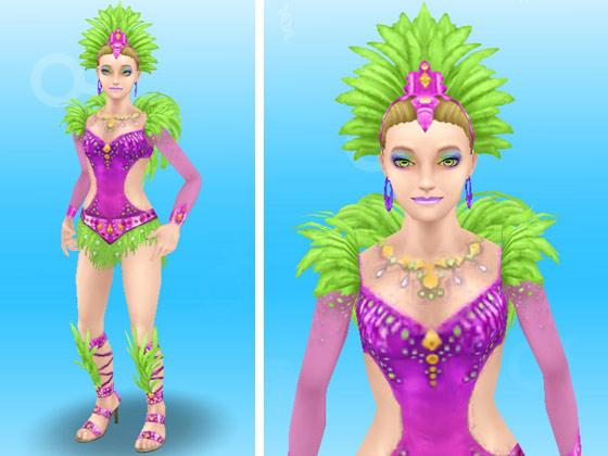 ホエザルのカーニバルの服装をした女性シム(The Sims フリープレイ)