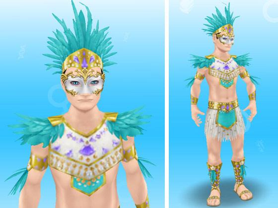 アナコンダのカーニバルの服装に、白と金のマルディグラの仮面を装着した男性シム(The Sims フリープレイ)