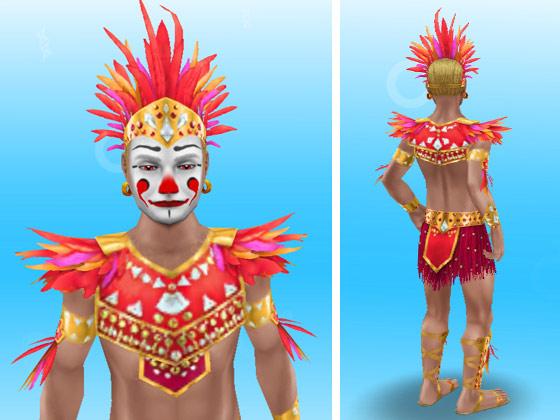 フラミンゴのカーニバルの服装に、ピエロのメイクをした男性シム(The Sims フリープレイ)