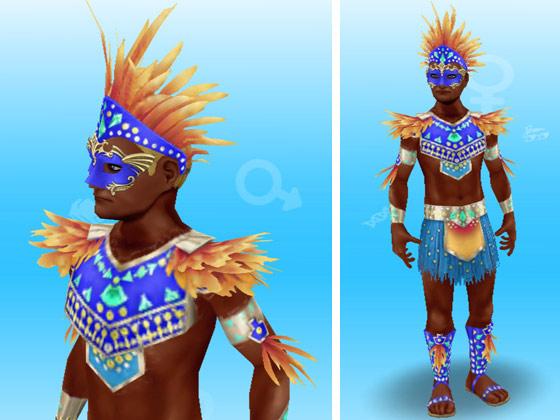オオハシのカーニバルの服装に、青いマルディグラの仮面を装着した男性シム(The Sims フリープレイ)
