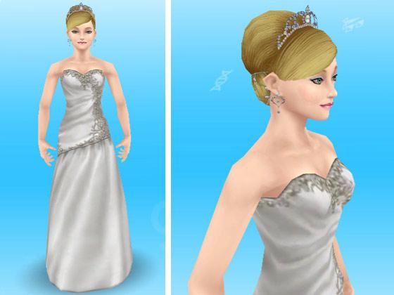 結婚式バンドルのウエディングドレスとティアラ付きヘアスタイルを身につけた女性シム(The Sims フリープレイ)