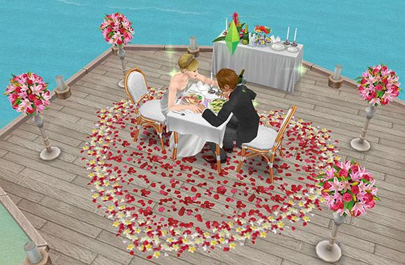 南国ロマンス島のオーシャンビューテーブルで食事を楽しみながら愛をはぐくむ男女シム(The Sims フリープレイ)