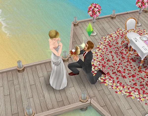 南国ロマンス島のオーシャンビューテーブル前でプロポーズをする男女シム(The Sims フリープレイ)