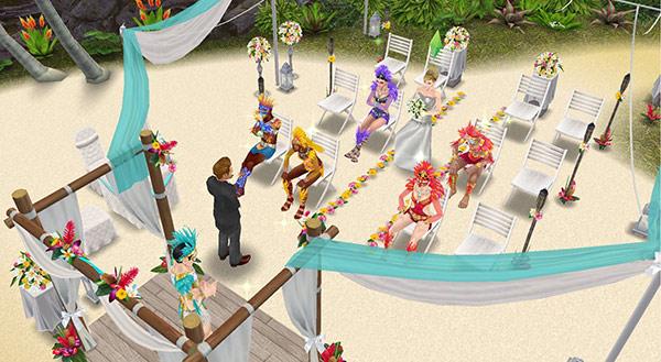 南国ロマンス島、結婚式。ブーケを持った新婦がバージンロードを歩く(The Sims フリープレイ)