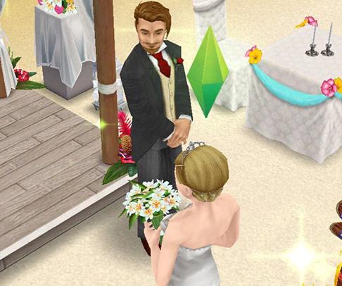 南国ロマンス島の結婚式で、新婦に見惚れる新郎シム(The Sims フリープレイ)