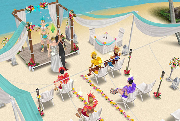 南国ロマンス島の結婚式で、紙吹雪の散る中、みんなの前で、手と手をとりあって掲げる新郎新婦シム(The Sims フリープレイ)