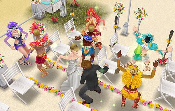 南国ロマンス島の結婚式場で踊りまくる、新郎新婦とカーニバル姿のシムたち(The Sims フリープレイ)