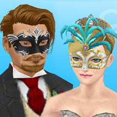 結婚式バンドルのドレスとタキシードに、マルディグラの仮面をつけた男女シム(The Sims フリープレイ)