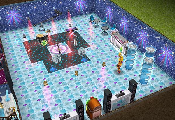カーニバルハウス地下ダンスフロア。ライブステージにブームカメラ、モダンなバーもあって広く、多関節ライト、LEDフロアランプ、スピンランプ、サルサランプ、ナイトライフディスコボールの色とりどりの光で華やか(The Sims フリープレイ)