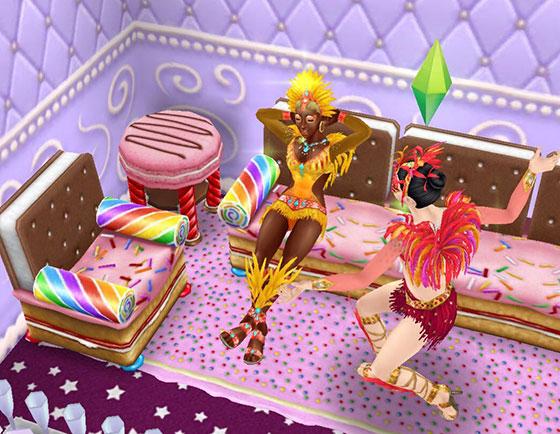 ジンジャーブレッド・ソファで居眠りするシムを発見するシム(The Sims フリープレイ)